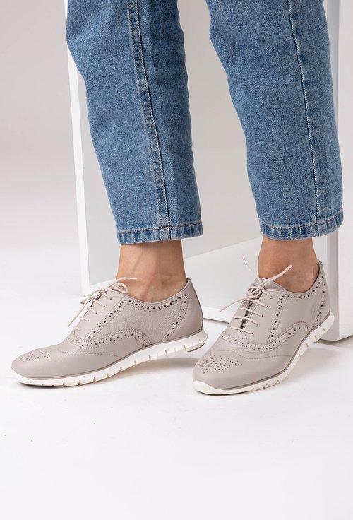 Pantofi casual grej din piele naturala Anda