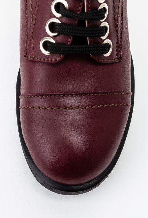 Pantofi casual grena din piele naturala cu toc patrat