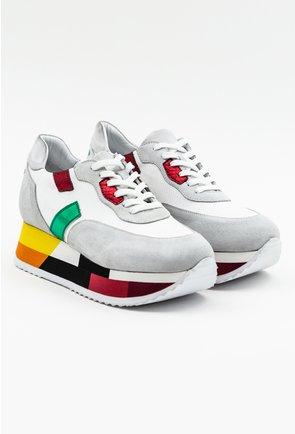 Pantofi casual gri cu platforma in diverse nuante