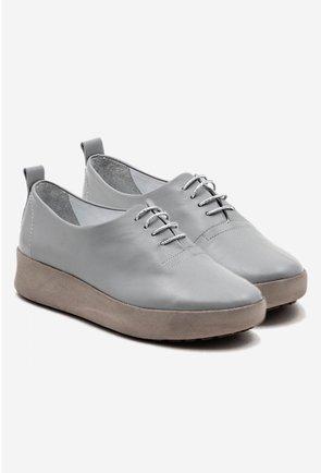 Pantofi casual gri din piele naturala