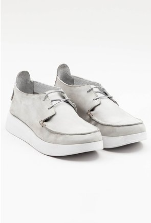 Pantofi casual gri din piele naturala intoarsa