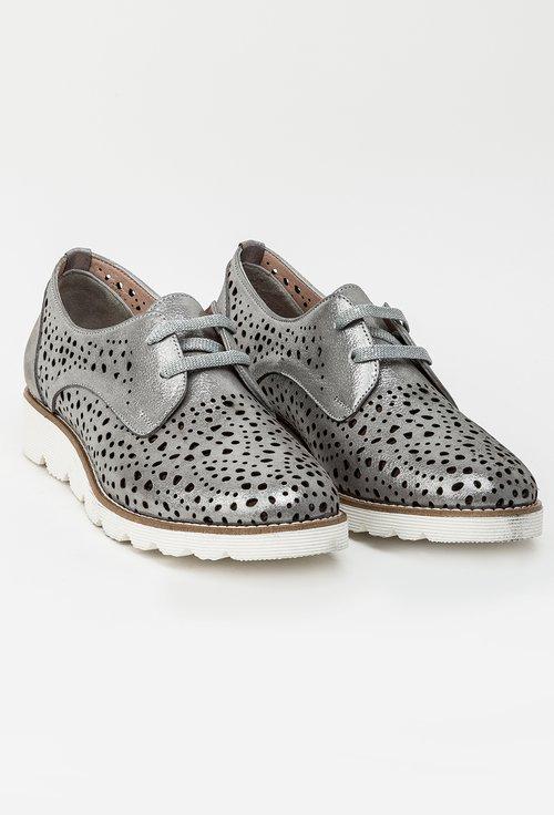 Pantofi casual gri din piele naturala Samara