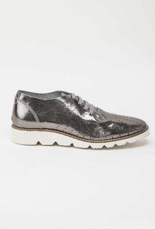 Pantofi casual gri metalizat din piele naturala Lucia