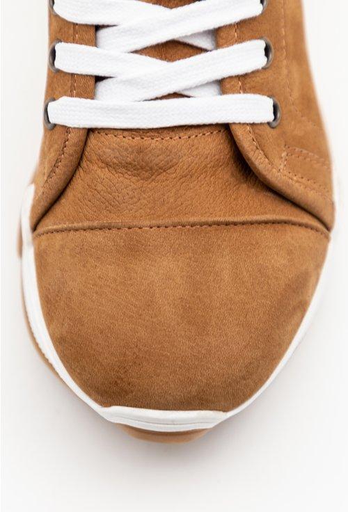 Pantofi casual inalti din piele naturala intoarsa maro