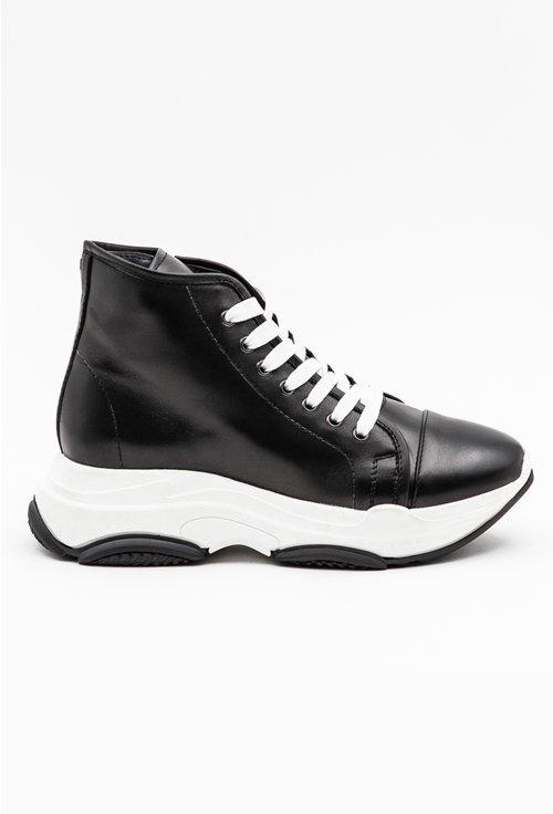 Pantofi casual inalti negri din piele naturala box