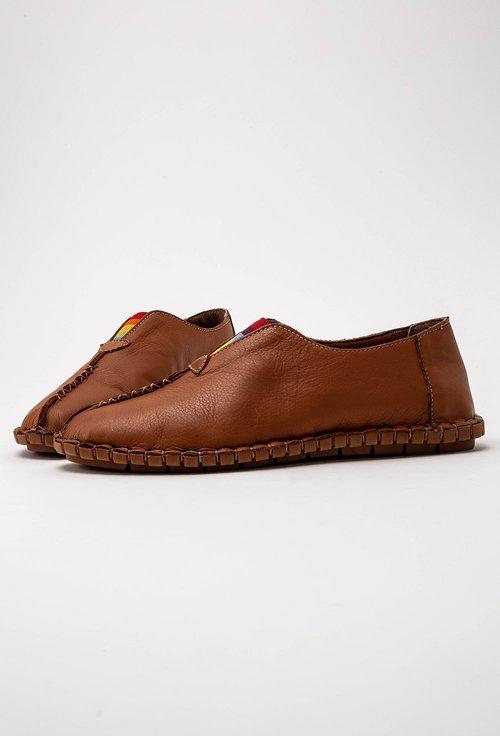 Pantofi casual maro din piele cu elastic colorat