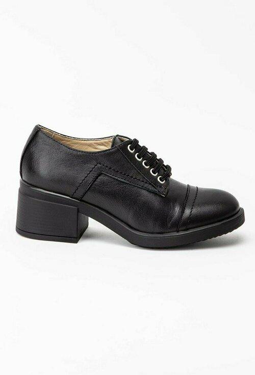 Pantofi casual negri cu siret din piele naturala box