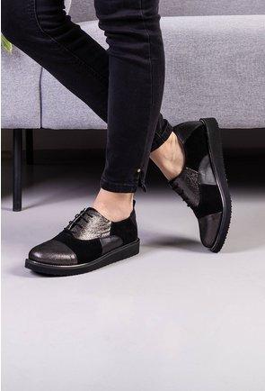 Pantofi casual negri din piele cu detalii gri sidefate