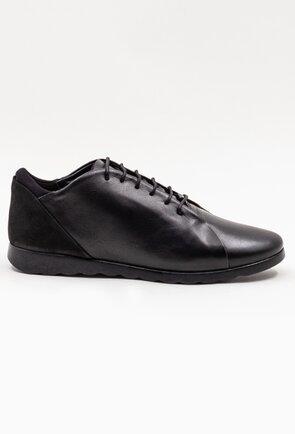 Pantofi casual negri din piele cu siret