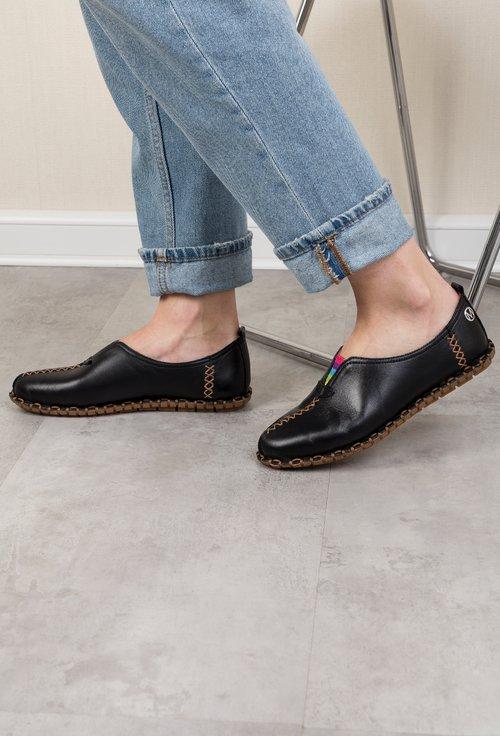 Pantofi casual negri din piele naturală Izaura