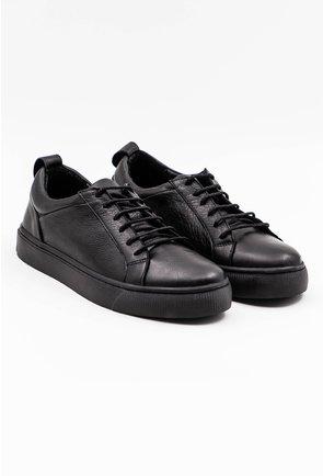 Pantofi casual negri din piele naturala