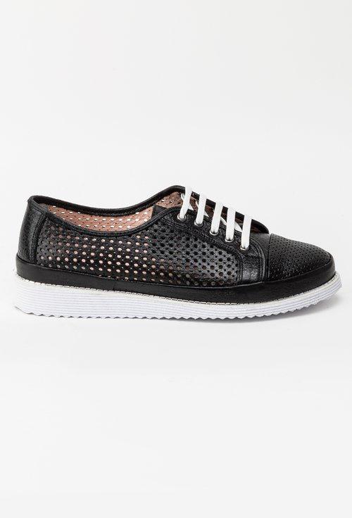 Pantofi casual negri din piele naturala Adam