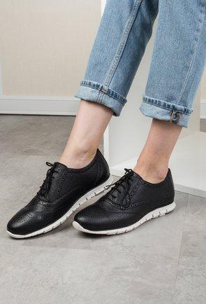 Pantofi casual negri din piele naturala Anda