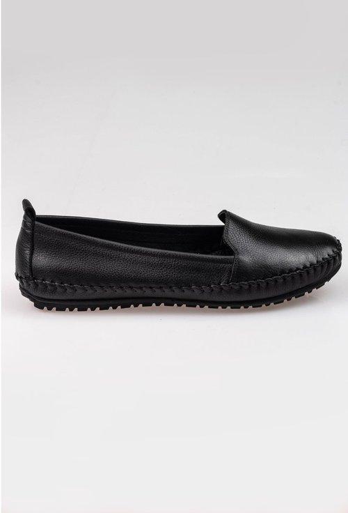 Pantofi casual negri din piele naturala cu detaliu cusatura