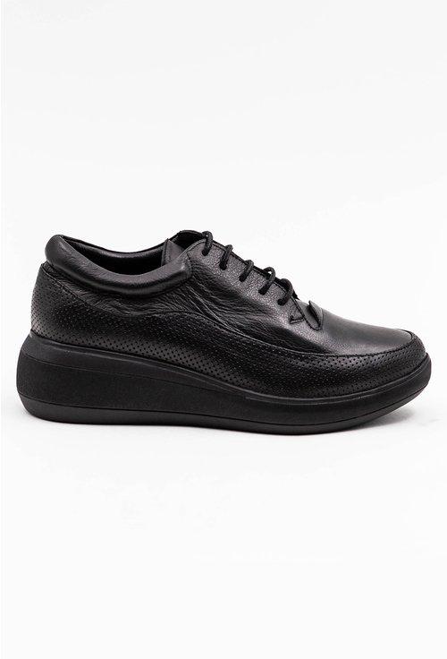 Pantofi casual negri din piele naturala cu talpic buretat
