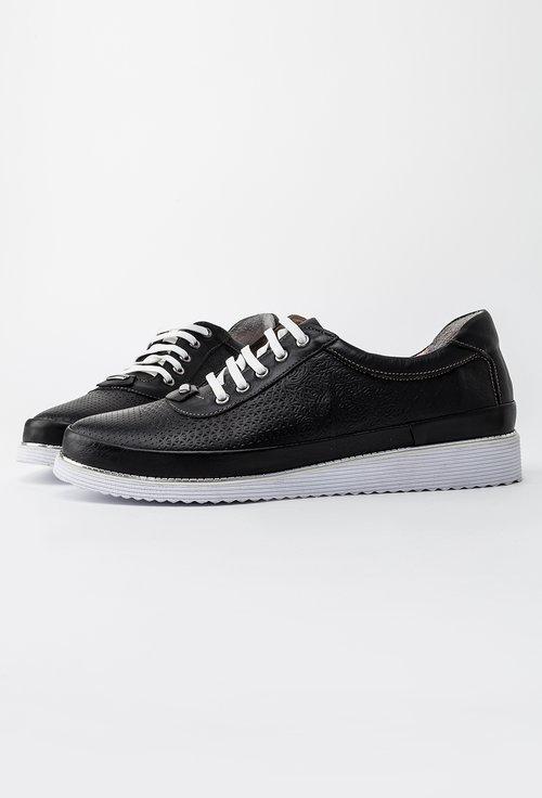 Pantofi casual negri din piele naturala Elixir