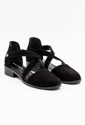 Pantofi casual negri din piele naturala intoarsa