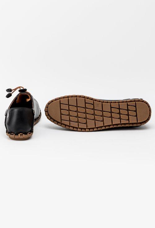 Pantofi casual negri din piele naturala Kira