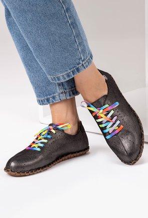 Pantofi casual negri din piele naturala Lesley