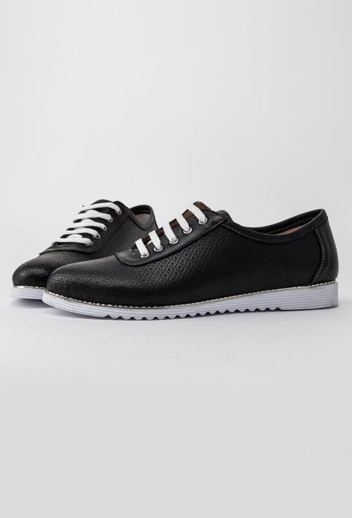 Pantofi casual negri din piele naturala Perla