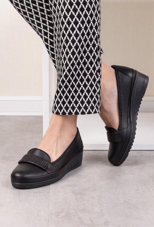 Pantofi casual negri din piele naturala Zaviera