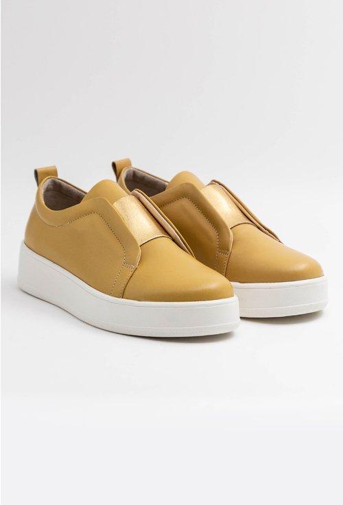 Pantofi casual nuanta galben mustar din piele naturala