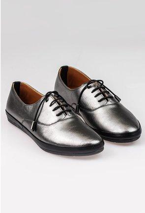 Pantofi casual nuanta gri metalizat din piele naturala