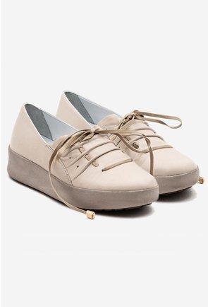 Pantofi casual nuanta nude din piele naturala