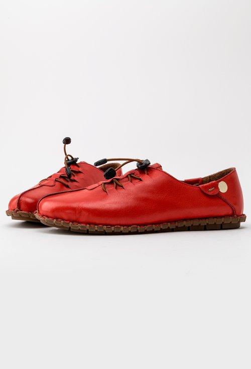 Pantofi casual nuanta rosu corai din piele naturala Kira