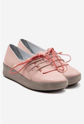 Pantofi casual nuanta roz pal din piele naturala