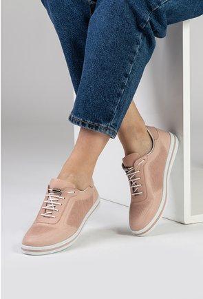 Pantofi casual nuanta roz pudra din piele naturala perforata