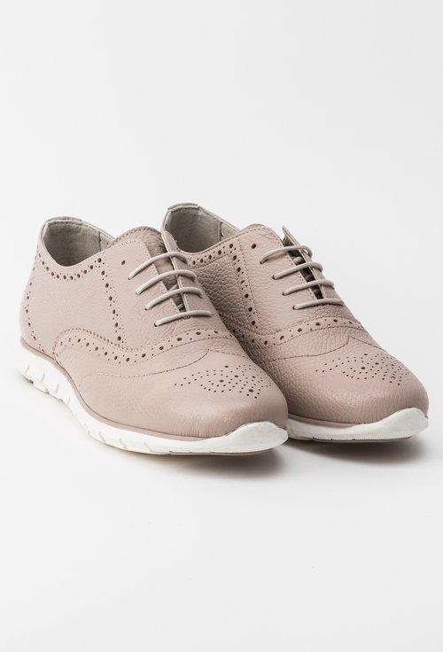 Pantofi casual nude din piele naturala Anda