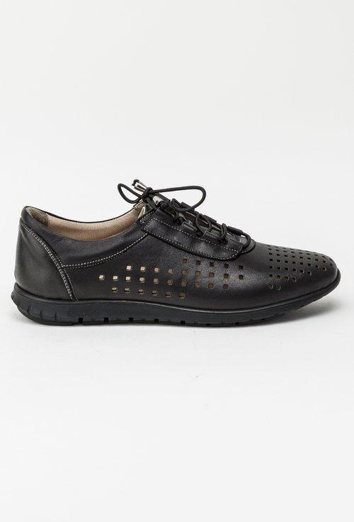 Pantofi casual perforati negri din piele naturala Luke