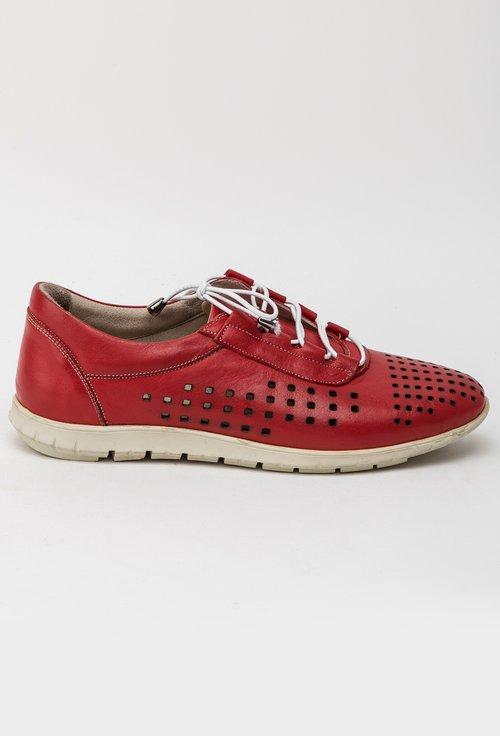 Pantofi casual perforati rosii din piele naturala Luke