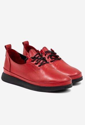 Pantofi casual rosii din piele naturala cu siret