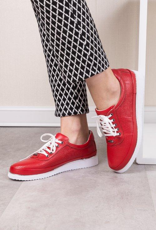 Pantofi casual rosii din piele naturala Elixir