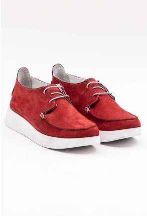 Pantofi casual rosii din piele naturala intoarsa