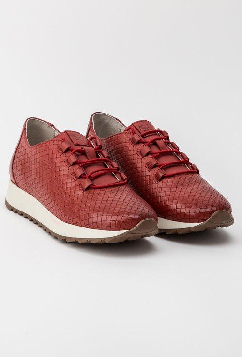 Pantofi casual rosu deschis din piele naturala Agnes