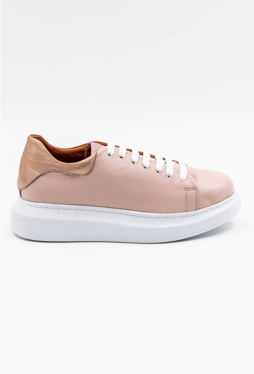 Pantofi casual roz din piele cu detaliu rose gold