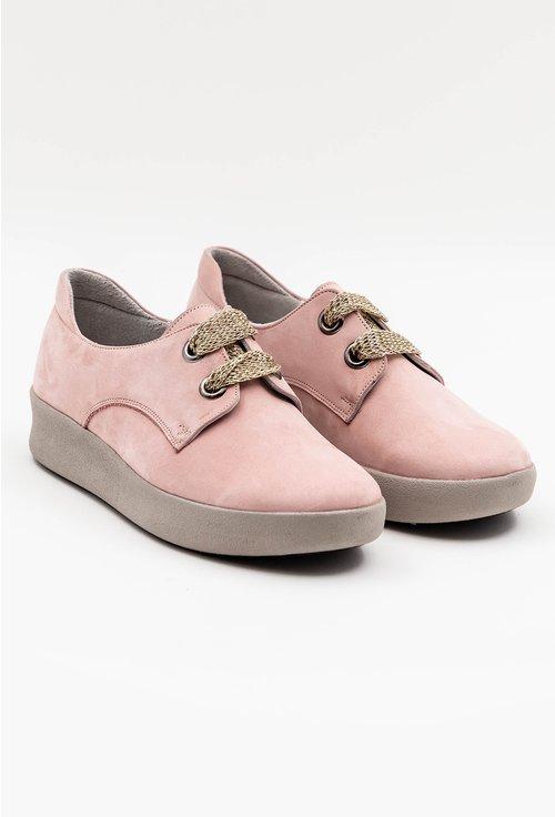 Pantofi casual roz din piele naturala intoarsa