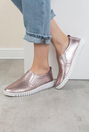 Pantofi casual roz metalizat din piele naturala Debora