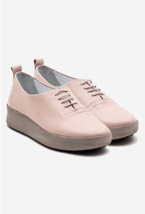 Pantofi casual roz pal din piele naturala