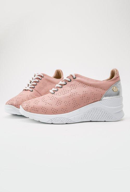 Pantofi casual roz pal din piele naturala Kate
