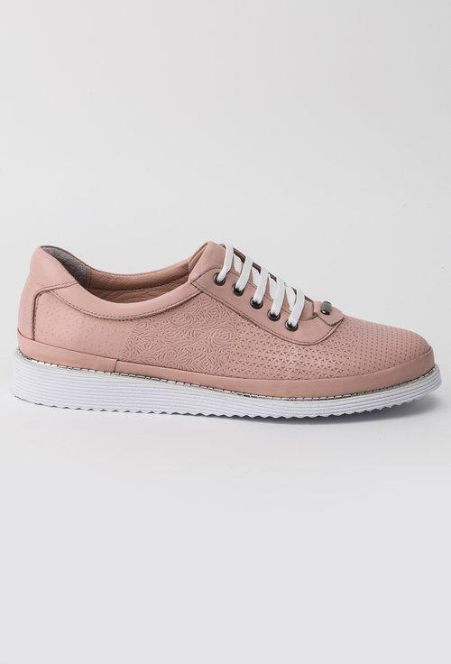 Pantofi casual roz pudra din piele naturala Elixir