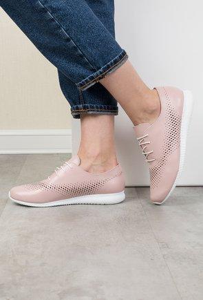 Pantofi casual roz pudra din piele naturala Yasmine