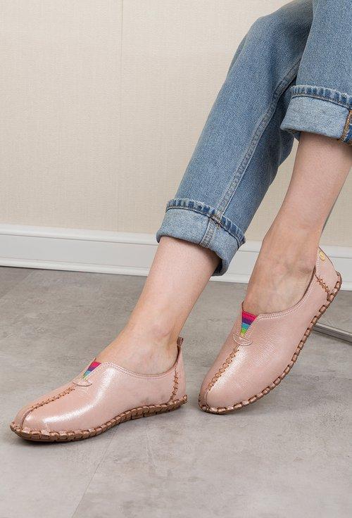 Pantofi casual roz pudra sidefat din piele naturală Izaura