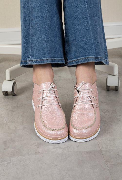 Pantofi casual roz sidefat din piele naturala Stacy