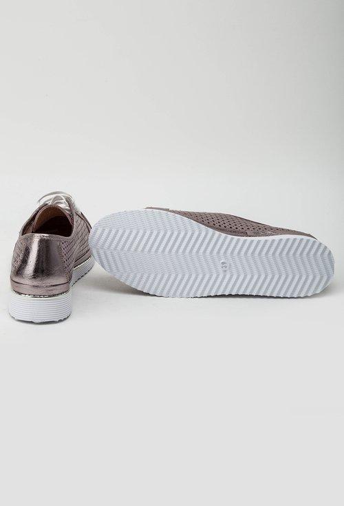 Pantofi casual roze metalizat din piele naturala Adam