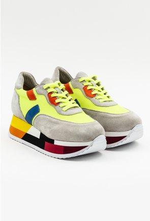 Pantofi casual taupe cu platforma in diverse nuante si detalii neon