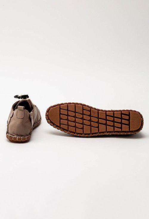 Pantofi casual taupe din piele cu siret elastic